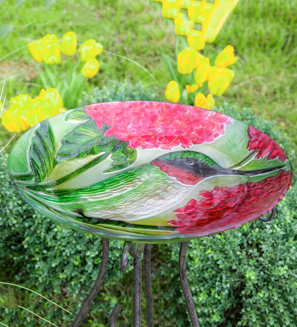 Textured Glass Hummingbirds and Red Hydrangea Birdbath Basin