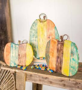Painted Reclaimed Wood Pumpkins, Set of 3