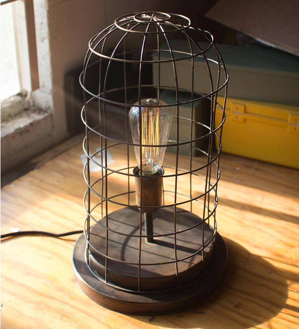 Vintage-Style Wire Cage Desk Lamp