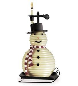 Scroll Snowman Beeswax Candle by the Hour