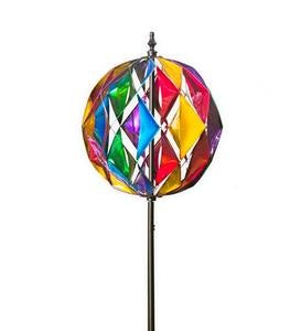 Harlequin-Style Colorful Metal Ball Wind Spinner