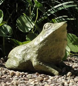 Cast Stone Primitive Frog Sculpture