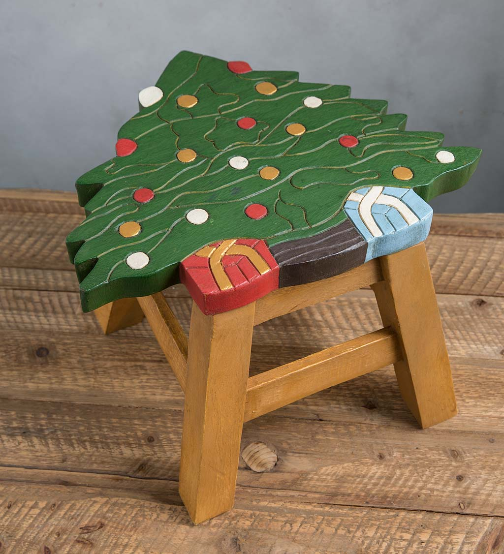 Wooden Carved and Painted Holiday Footstool
