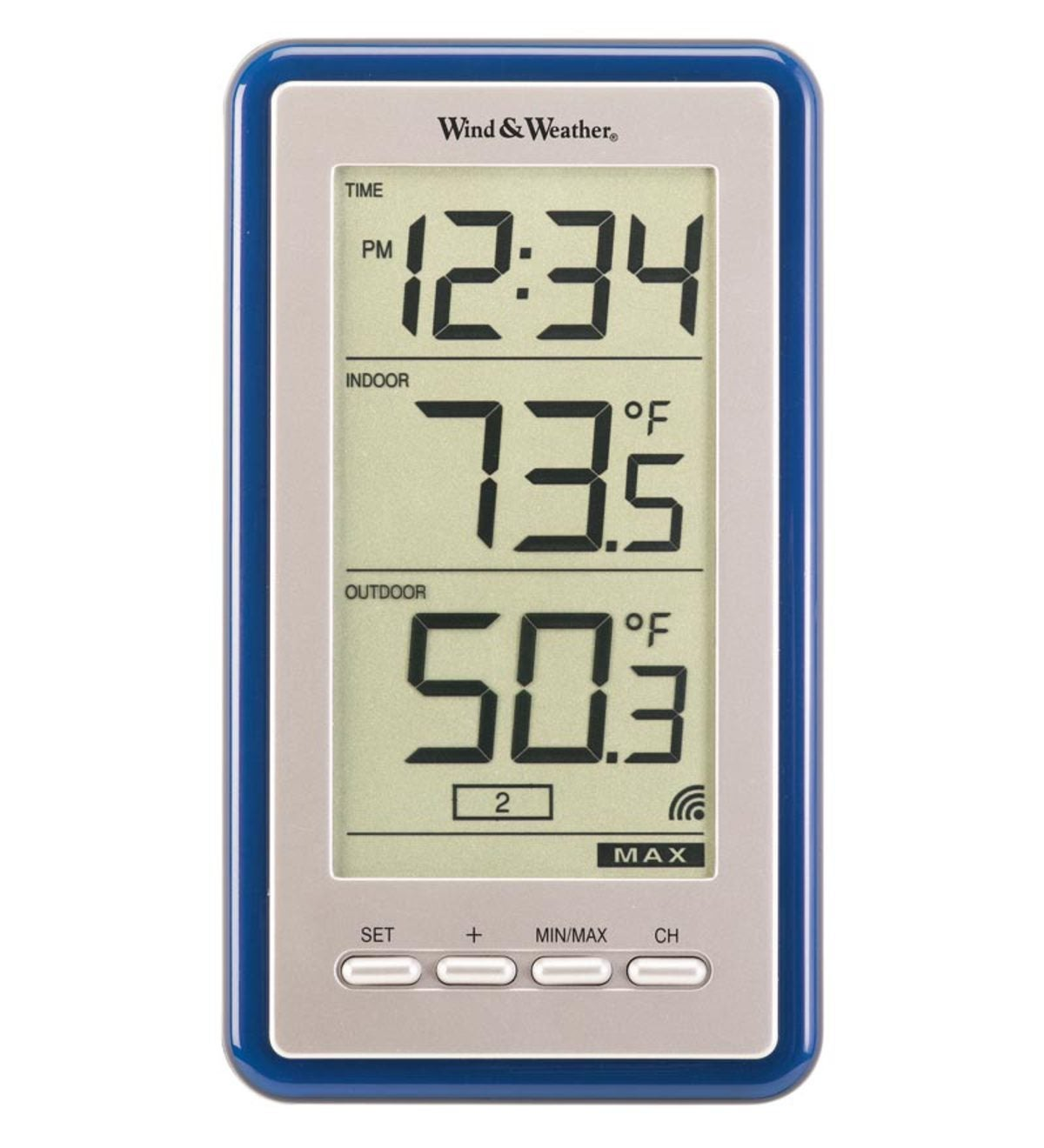 Large-Digit Indoor/Outdoor Color Spot Thermometer and Clock - Blue