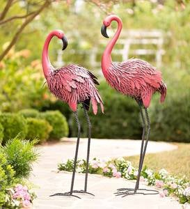 Fancy-Feathered Indoor/Outdoor Metal Flamingos