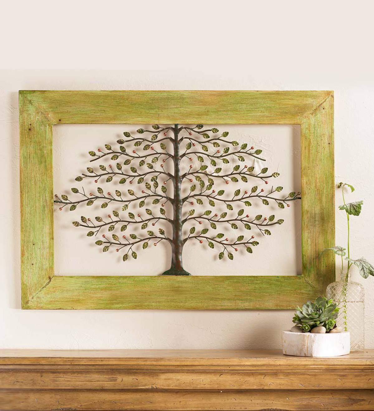 Framed Metal Tree of Life Wall Art | Fall Home Decor | Wind and Weather