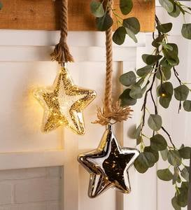 Glass Indoor Star Light With Hanging Rope and Integrated Timer - Clear
