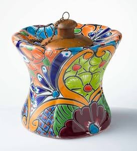 Hand Painted Talavera-Style Flower-Shaped Ceramic Oil Torch