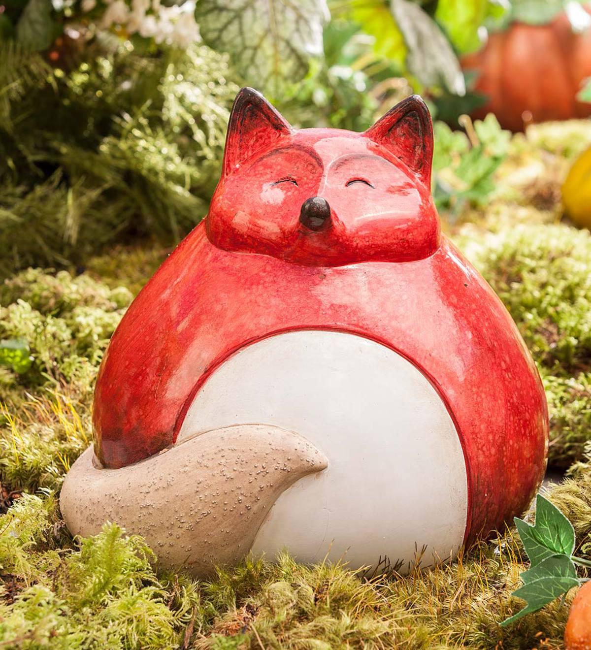 Fat Fox Ceramic Statue