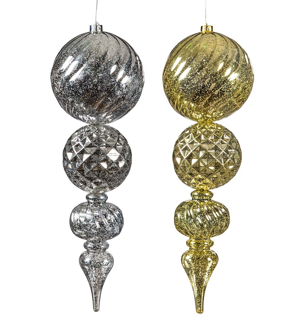 "24""L Indoor/Outdoor Shatterproof Lighted Holiday Finial Ornaments, Set of 2 swatch image"