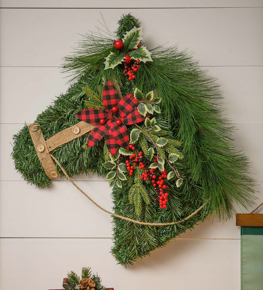 Holiday Horse Faux Foliage Hanging Wall Art
