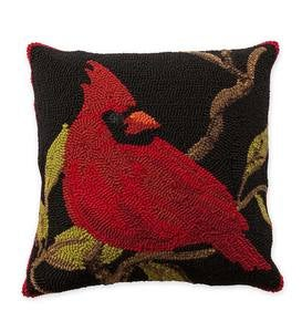 "18"" Square Indoor/Outdoor Hooked Cardinal Throw Pillow"
