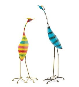 Colorful Striped Bird Metal Yard Sculpture - Blue Bird