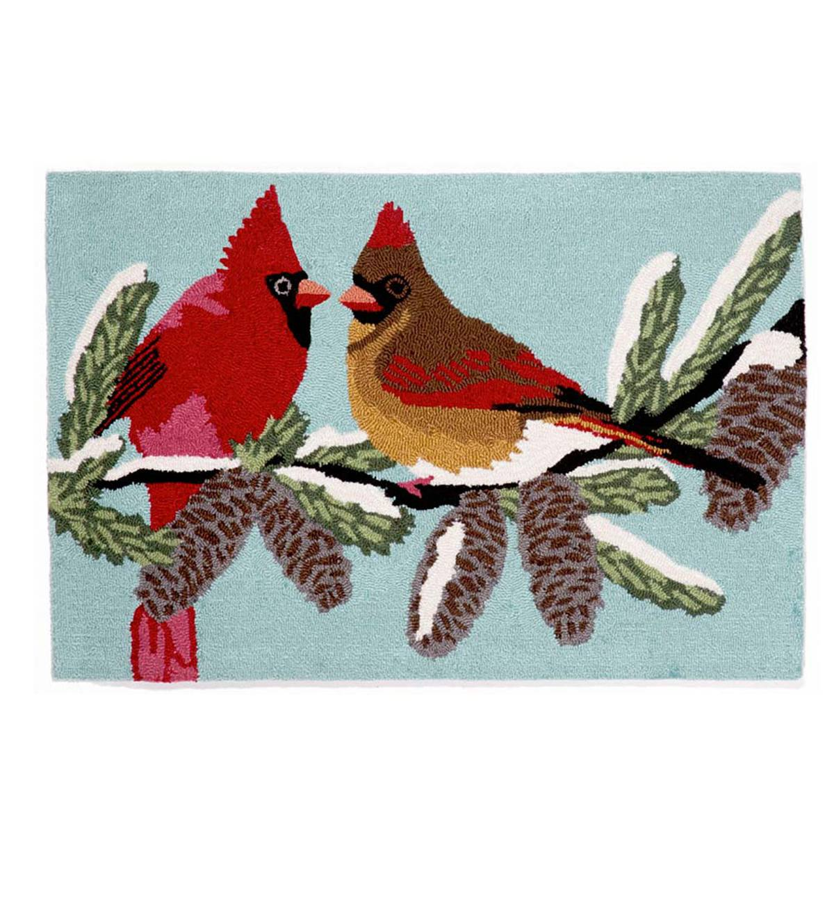"Winter Cardinals Rug, 20""W x 30""L"