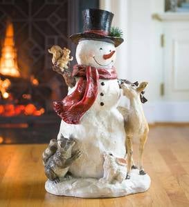 Woodland Snowman Statue with Animals