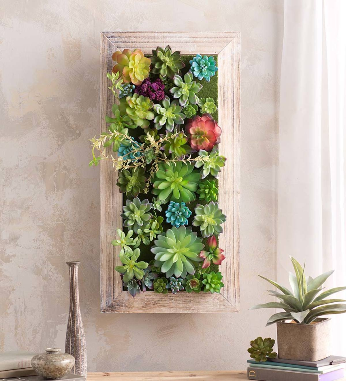 Faux Succulent Framed Wall Art Wind And Weather