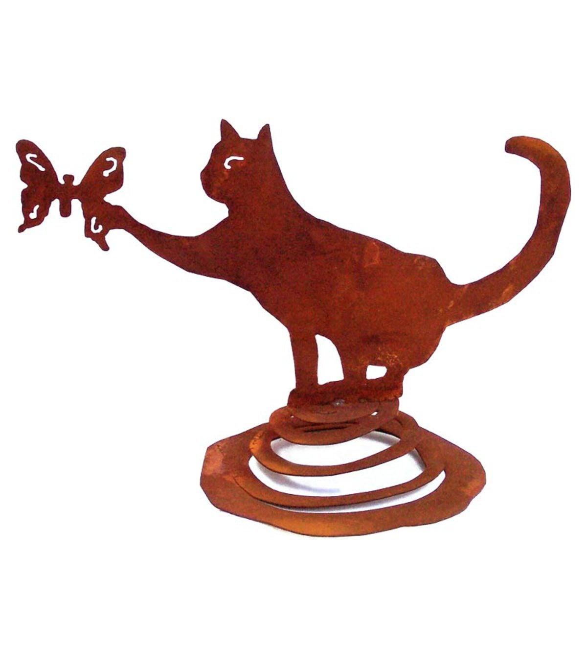 Cat On Spring Metal Garden Art Sculpture Wind And Weather