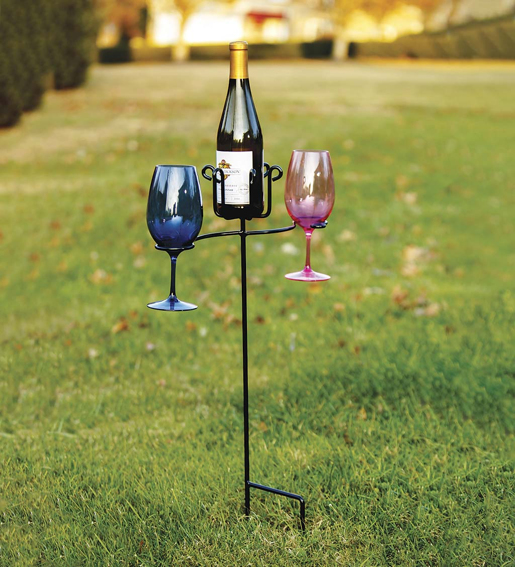 Wrought Iron Wine Bottle and Glass Stake