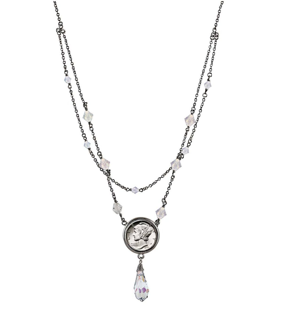 Mercury Dime and Crystal Double Strand Necklace