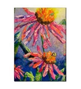 Busy Bee and Flowers Outdoor Canvas Wall Art