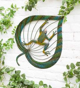 Frog on Leaf Metal Wall Art