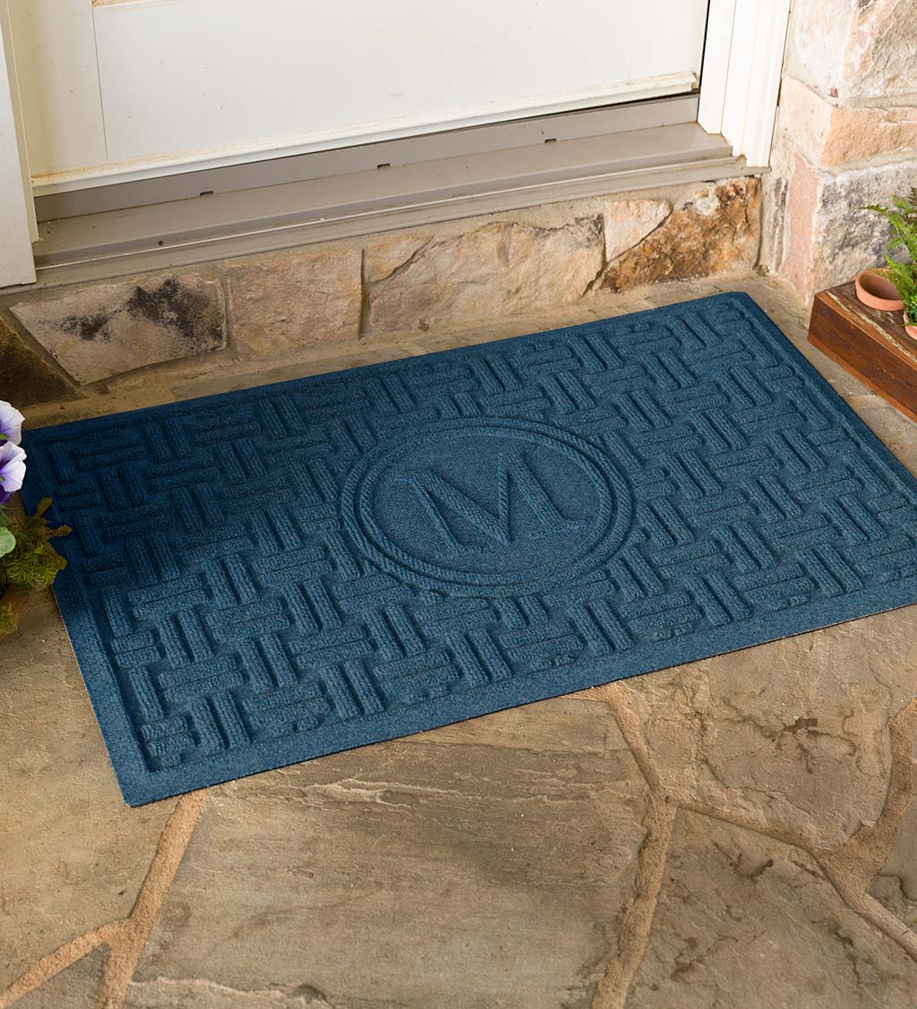 Waterhog Basket Weave Doormat with Single Initial, 2' x 3' - Navy
