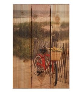 Handmade Special Delivery Red Bicycle On Beach Wall Décor by Gizaun Art™