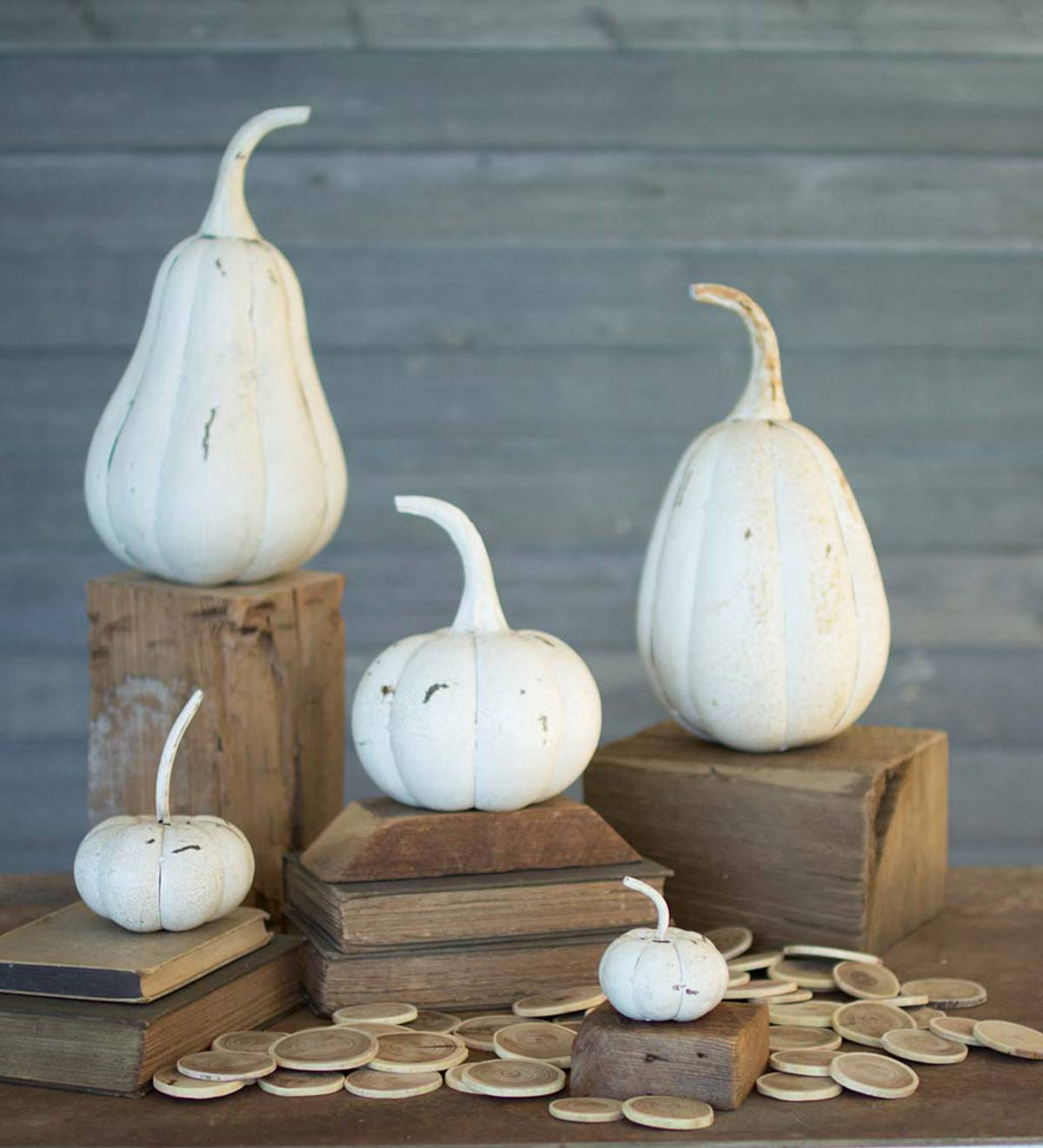 White Recycled Iron Pumpkins, Set of 5
