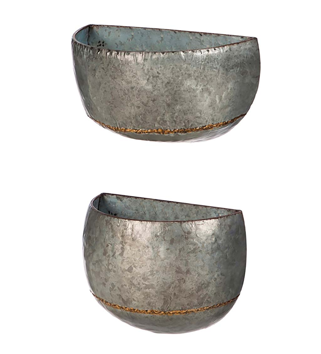 Galvanized Metal Wall Planters, Set of 2