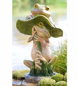 Two Frogs with Toadstool Garden Sculpture