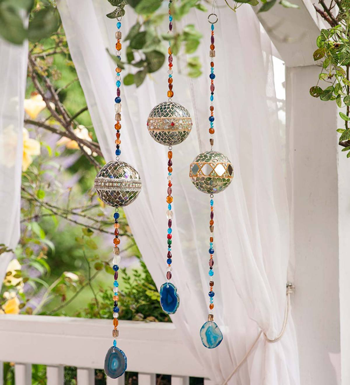 Silver Hanging Mosaic Balls, Set of 3