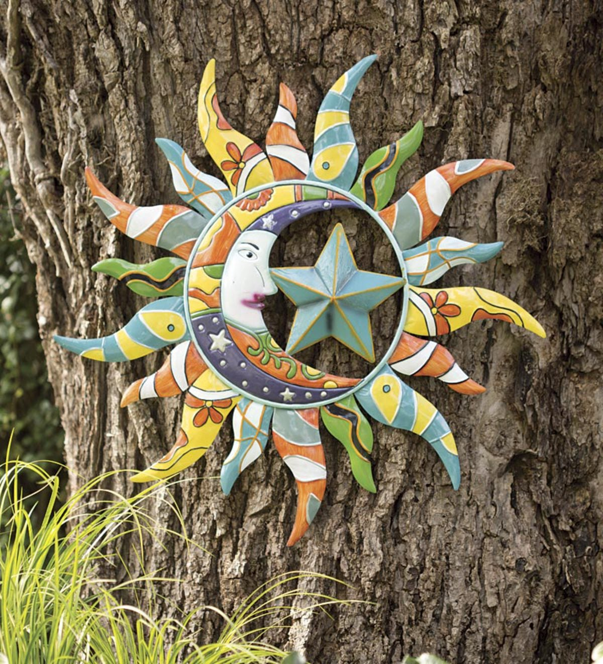 Colorful Metal Talavera Style Sun, Moon And Star Indoor/Outdoor Wall Art