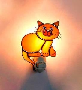 Handcrafted Stained Glass Cat Nightlight