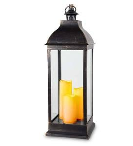 Antique-Style Lantern with Electric Candles