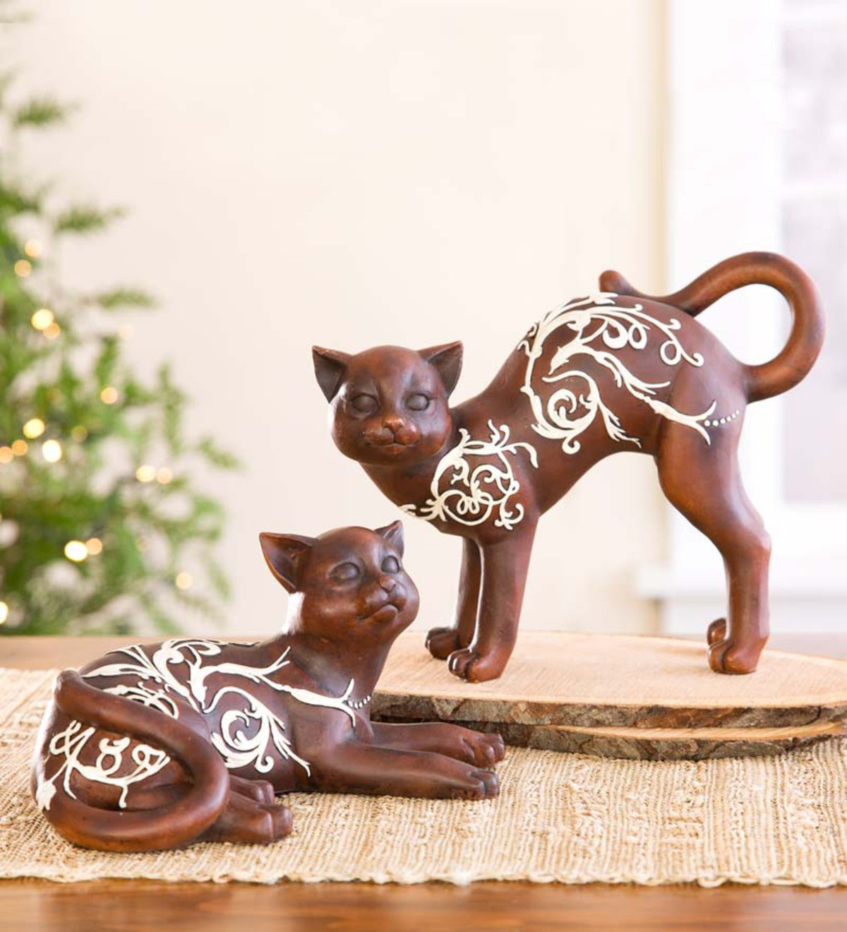 Artistic Cat Table Statues, Set of 2