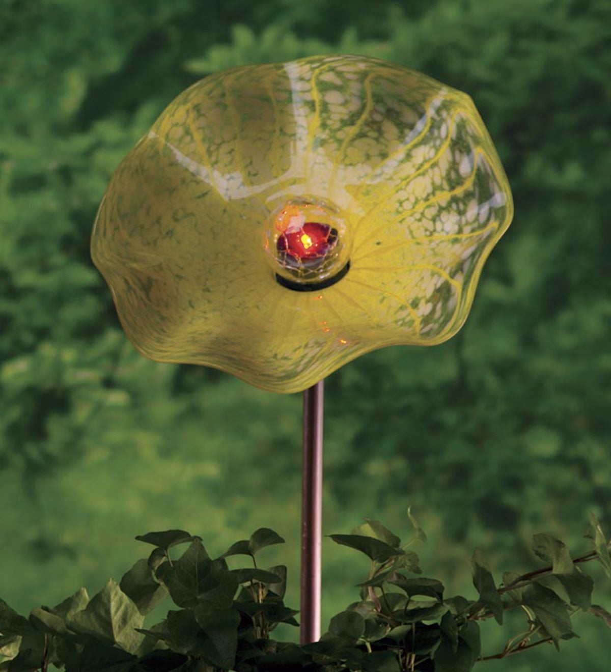 Solar Hand Blown Glass Flower Garden Stake - Yellow