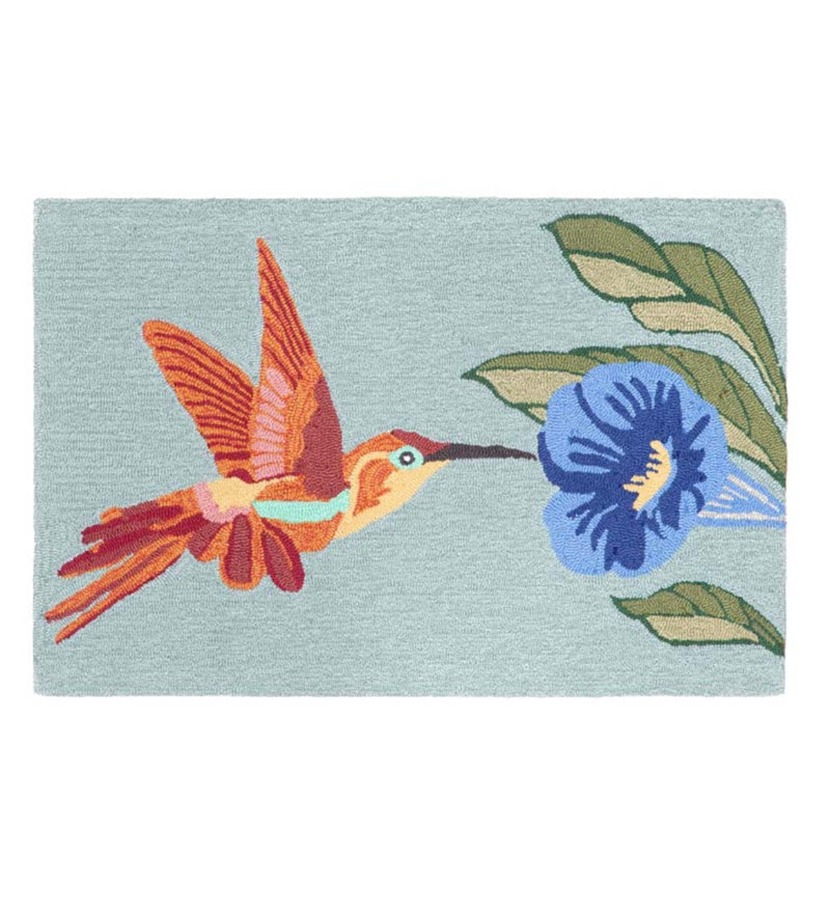 "Hummingbird Indoor/Outdoor Rug, 24""W x 36""L - Sky Blue"