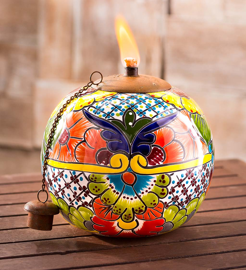 Hand Painted Talavera-Style Round Ceramic Oil Torch