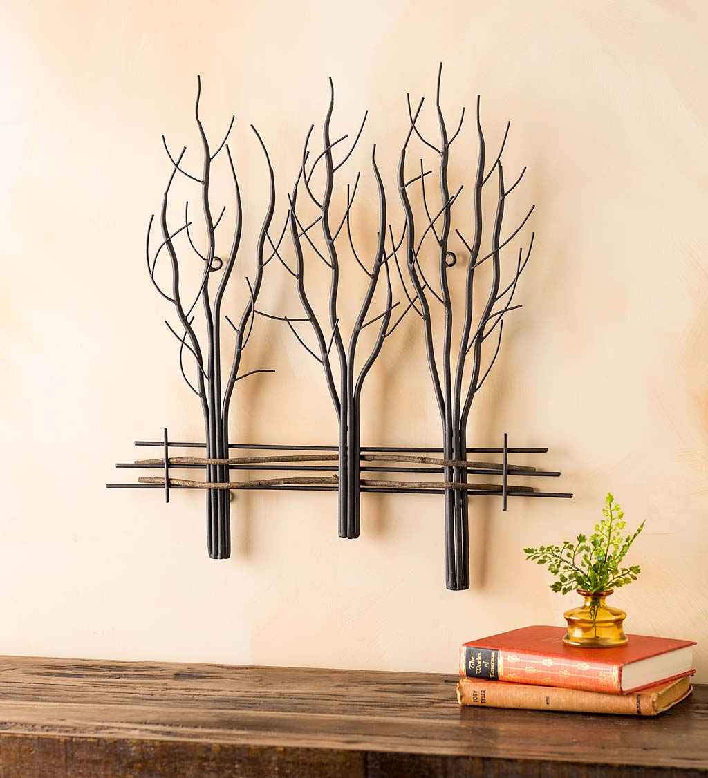 Metal and Natural Vine Three Winter Trees Wall Art