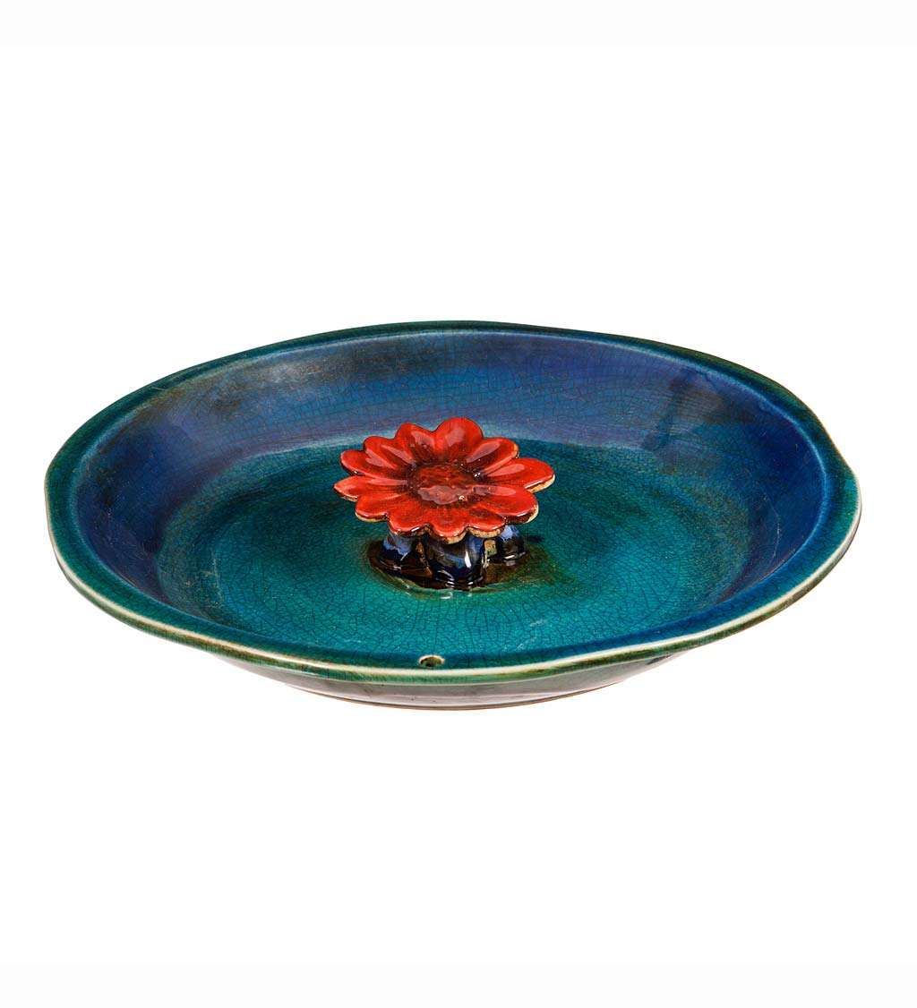 Colored Flower Ceramic Bee Bath