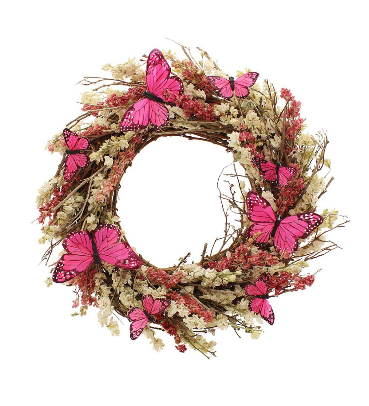 Pink Monarch Butterfly Wreath