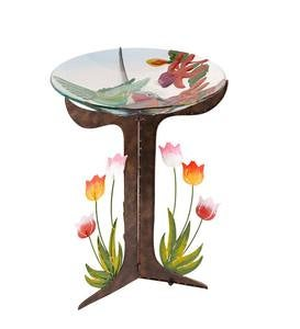 Glass Hummingbird Birdbath with Metal Tulip Stand
