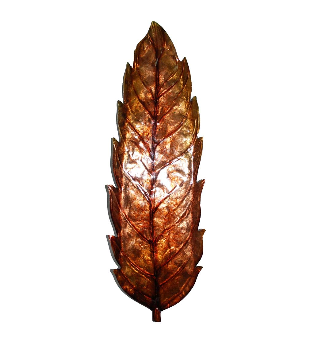Handcrafted Metal and Capiz Large Leaf Wall Art