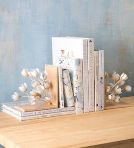 Handcrafted Metal Magnolia Flower Bookends, Set of 2