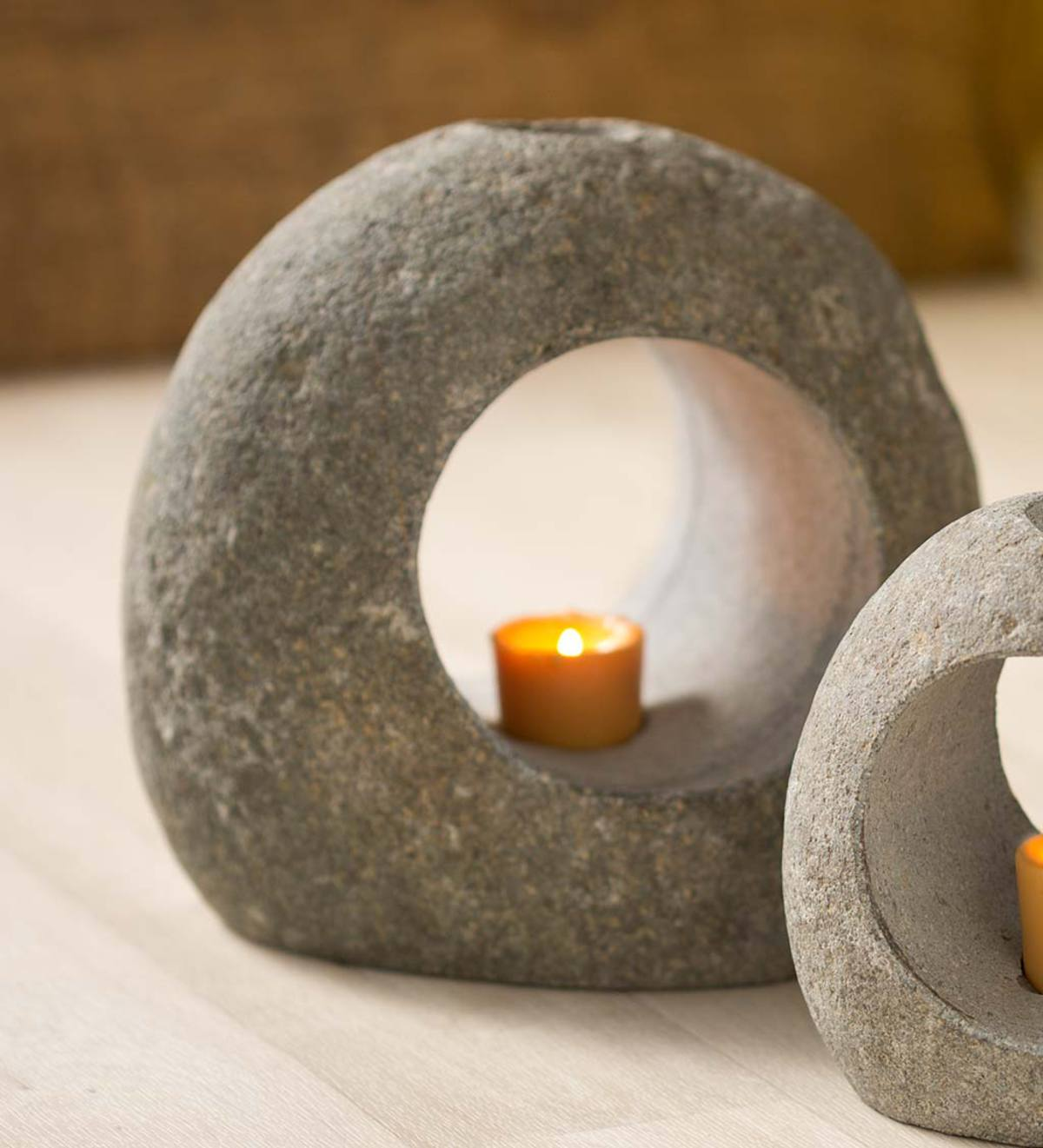 Small Ring-Shaped Stone Candle Holder