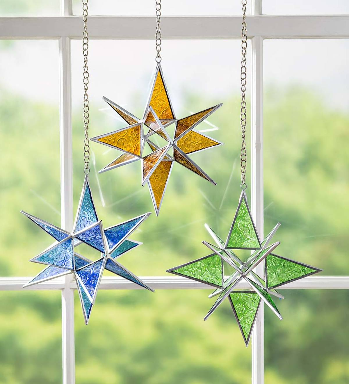 Hanging Stained Glass Holiday Star