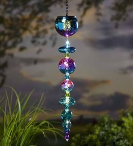 Hanging Colorful Mercury Glass Ornament with Solar-Powered Light