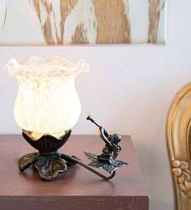 Hand-Painted Glass Tulip Lily Accent Lamp with Cherub - Pink