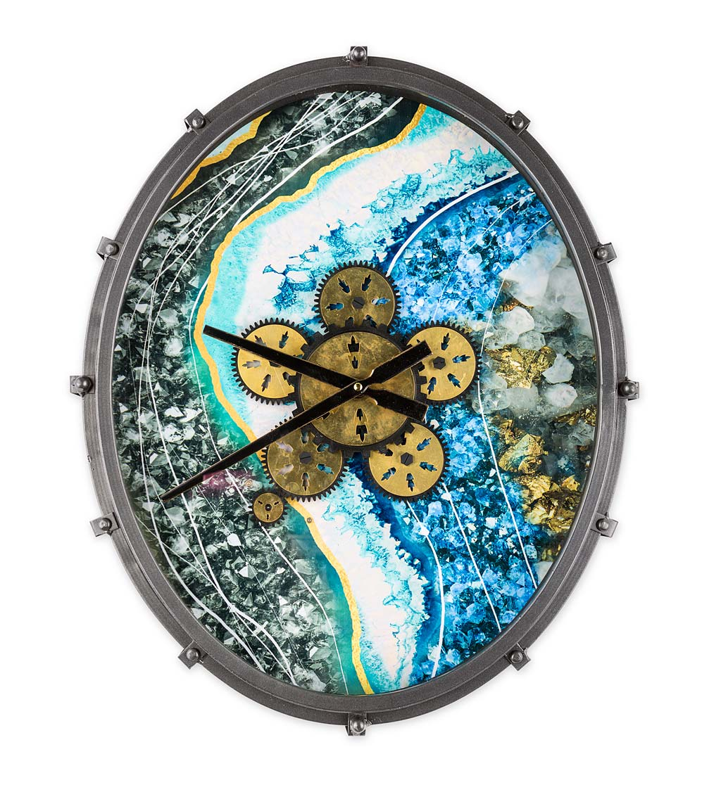 Oval Gear-Face Analog Indoor Wall Clock With Geode-Inspired Background