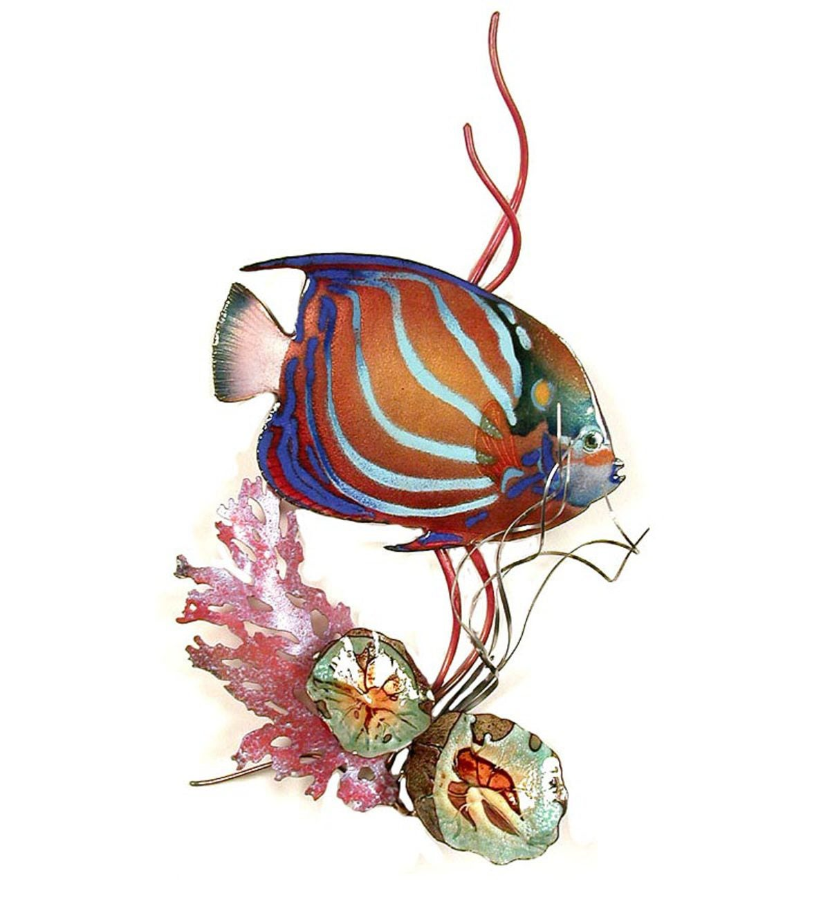 Bovano Blue Ring Angelfish With Coral Wall Art